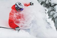 Skier in powder snow skiing
